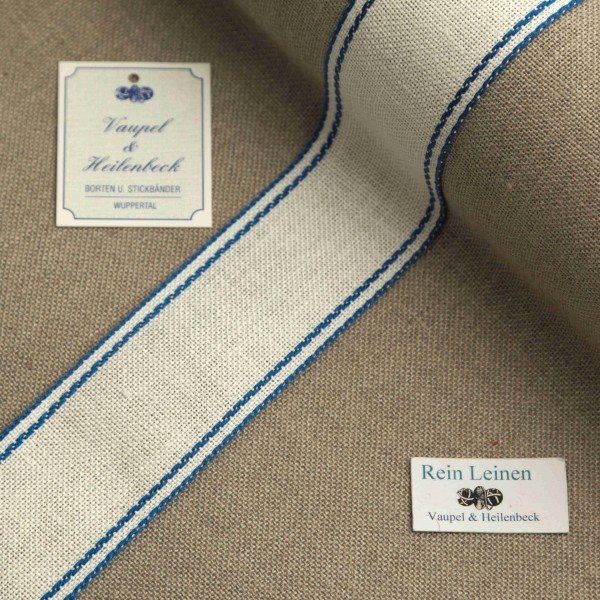 Leinenband 40 mm, 11-fädig, Rand gestreift, Farbe 19, gebleicht - blau