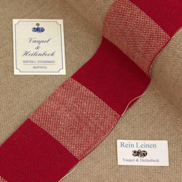 Leinenband 50 mm, 11-fädig, kariert, Farbe 230901, rot - rot meliert