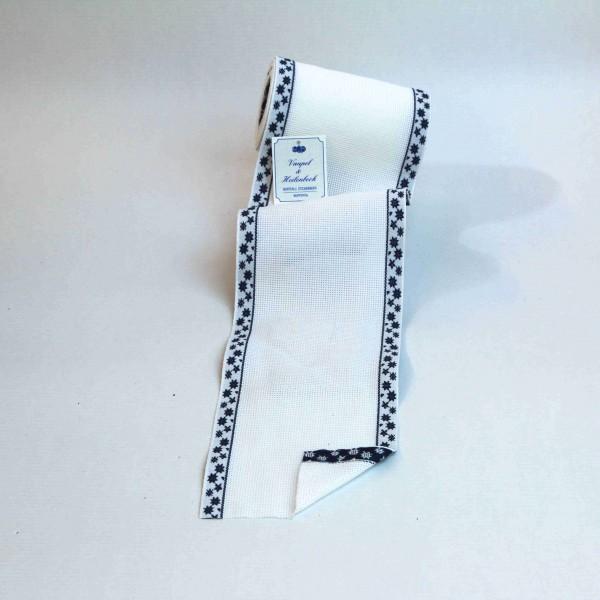 Aida-Stickband 100% BW, 120 mm, Farbe 13, weiß - Sterne blau