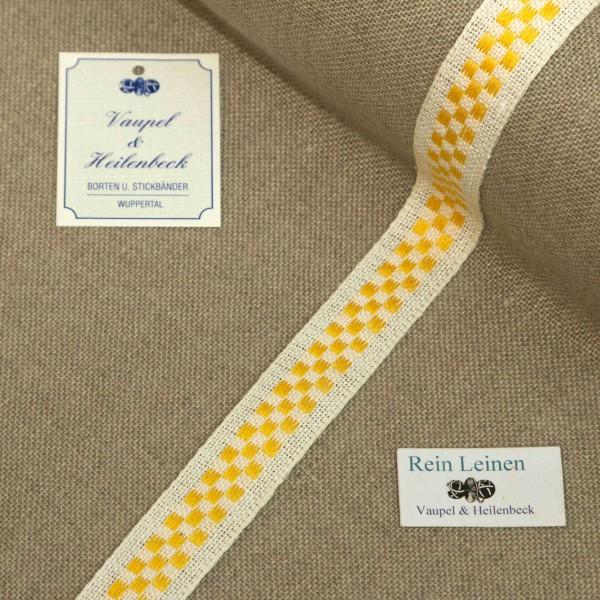 Leinenband 18 mm, 11-fädig, kariert, Farbe 4, gebleicht - gelb