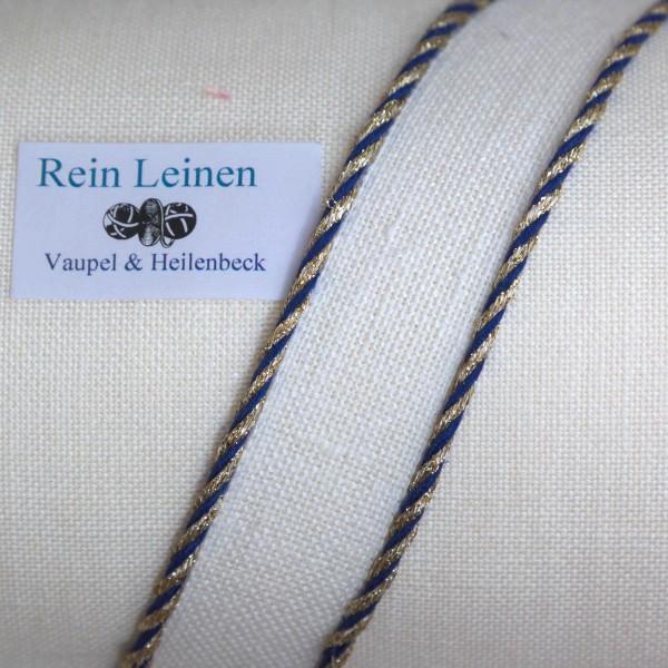Leinenkordel gedreht 3 mm, Farbe 21990, türkis - gold