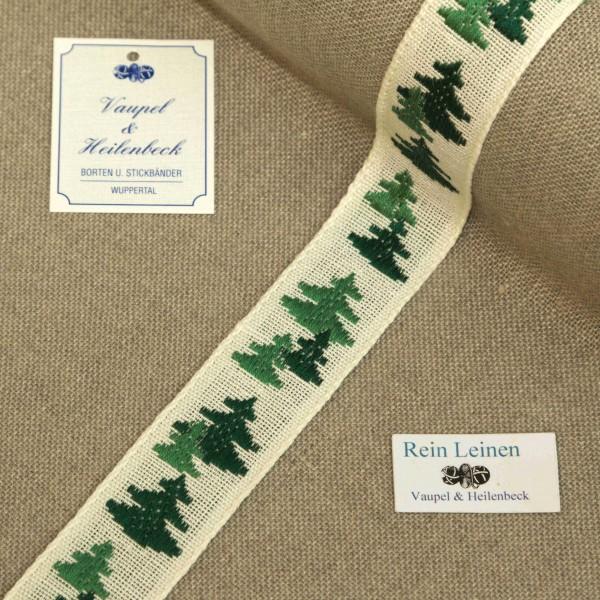 Leinenband 30 mm, 11-fädig, Motiv Tanne, Farbe 23, gebleicht - grün