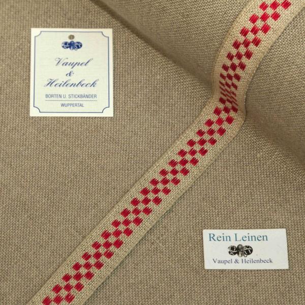 Leinenband 18 mm, 11-fädig, kariert, Farbe 8, natur - rot