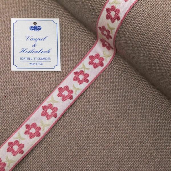 "Schmuckborte ""Tulpe"" 20 mm, Farbe 018, weiß - rosa"
