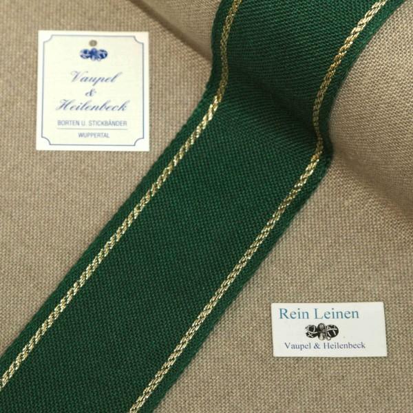 Leinenband 50 mm, 11-fädig, Rand gestreift, Farbe 90, grün - gold