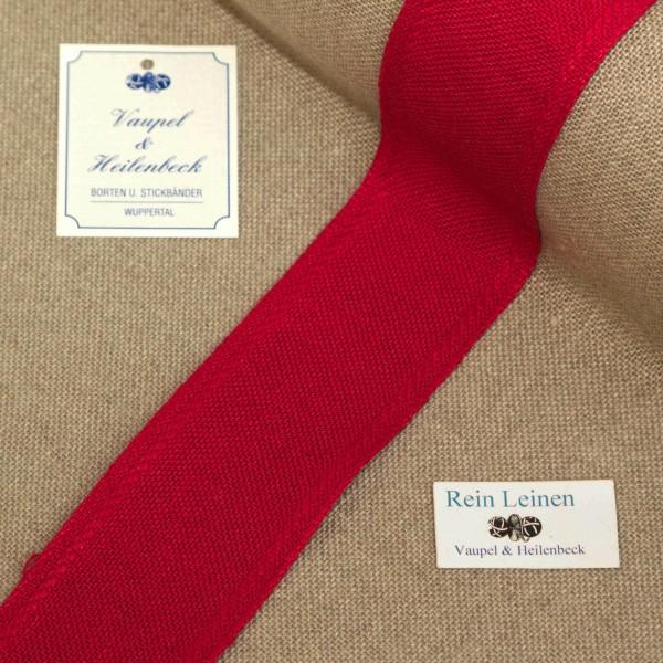 Leinenband 40 mm, 11-fädig, Rand gestreift, Farbe 208, rot - rot