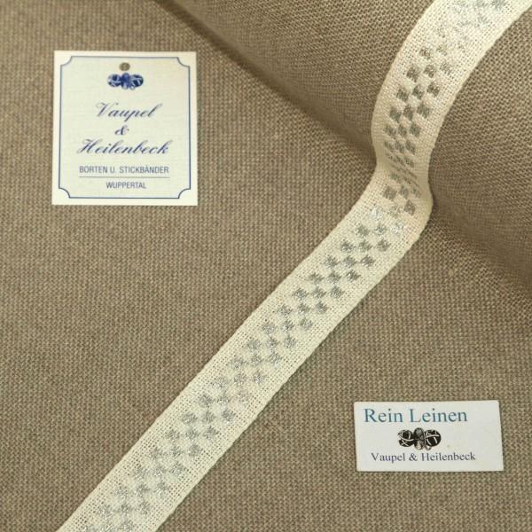 Leinenband 18 mm, 11-fädig, kariert, Farbe 954, gebleicht - silber