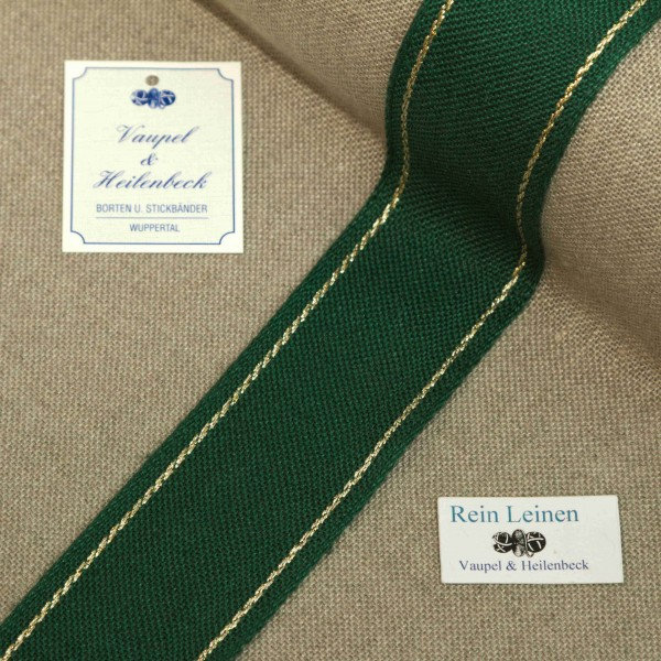 Leinenband 40 mm, 11-fädig, Rand gestreift, Farbe 90, grün - gold