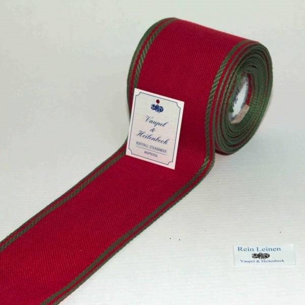 Leinenband 70 mm, 11-fädig, Rand gestreift, Farbe 23, rot - apfelgrün