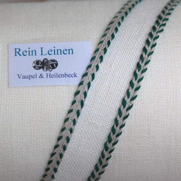 Zierband aus Leinen 4 mm, Farbe 901209, natur - grün