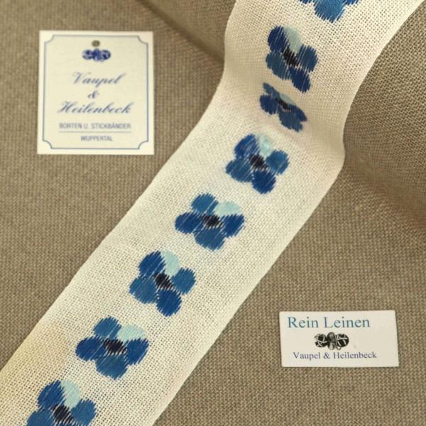 Leinenband 50 mm, 11-fädig, Motiv Stiefmütterchen, Farbe 213, gebleicht - blau
