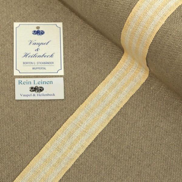 Leinenband 30 mm, 11-fädig, gestreift, Farbe 232, gebleicht - hell mandarin