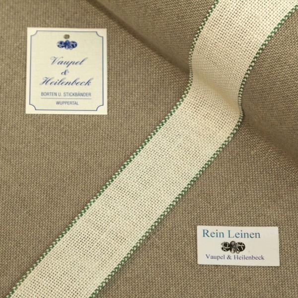 Leinenband 30 mm, 8,5-fädig, Farbe 23, gebleicht - Rand grün