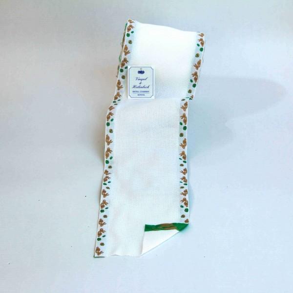 Aida-Stickband 100% BW, 120 mm, Farbe 23, weiß - Hasenrand grün