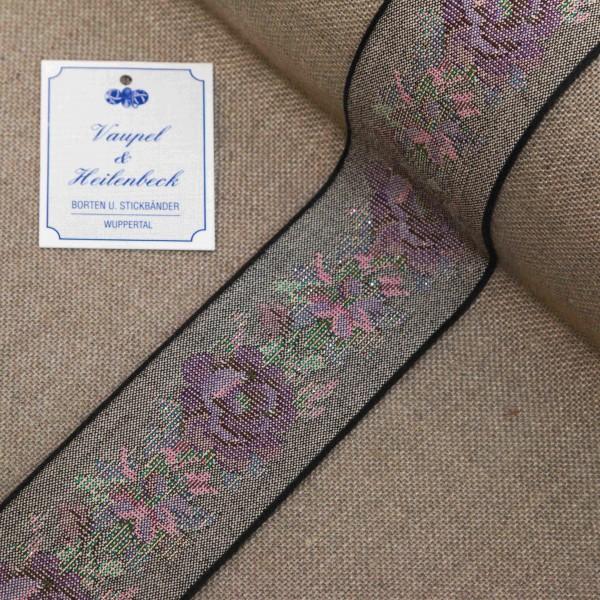 Schmuckborte antik 52 mm, Farbe 724, schwarz - violett