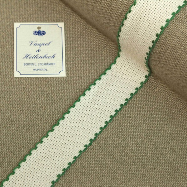 Aida-Stickband 100% BW, 30 mm, Farbe 23, weiß - grün