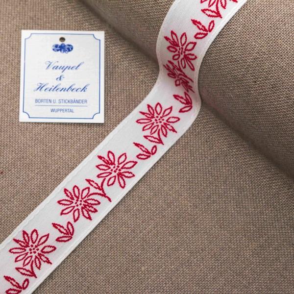 """Schmuckborte """"Margarite"""" 30 mm, Farbe 015, weiß - rot"""