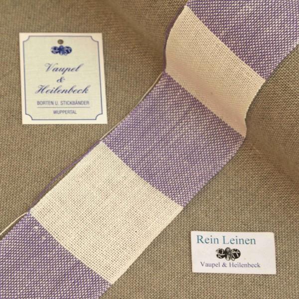 Leinenband 50 mm, 11-fädig, kariert, Farbe 900228, gebleicht - violett meliert