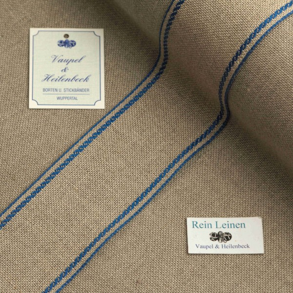 Leinenband 40 mm, 11-fädig, Rand gestreift, Farbe 19, natur - blau