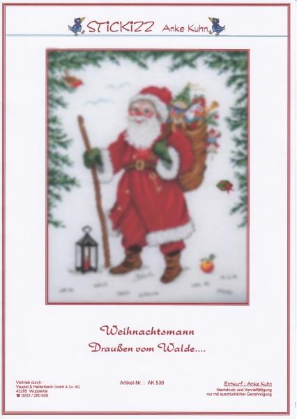 """Stickizz Kreuzstich No. AK536 """"Weihnachtsmann - Draußen vom Walde"""""""