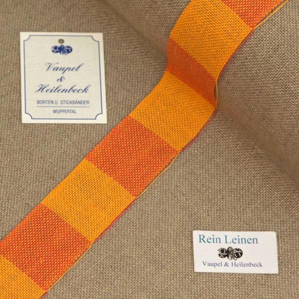 Leinenband 30 mm, 11-fädig, kariert, Farbe 222, orange - hummer meliert