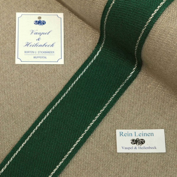 Leinenband 40 mm, 11-fädig, Rand gestreift, Farbe 95, grün - silber