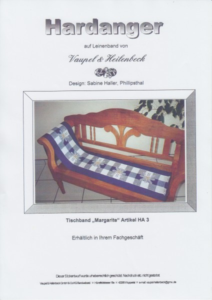 """Hardanger Stickanleitung """"Tischband Margarite"""""""