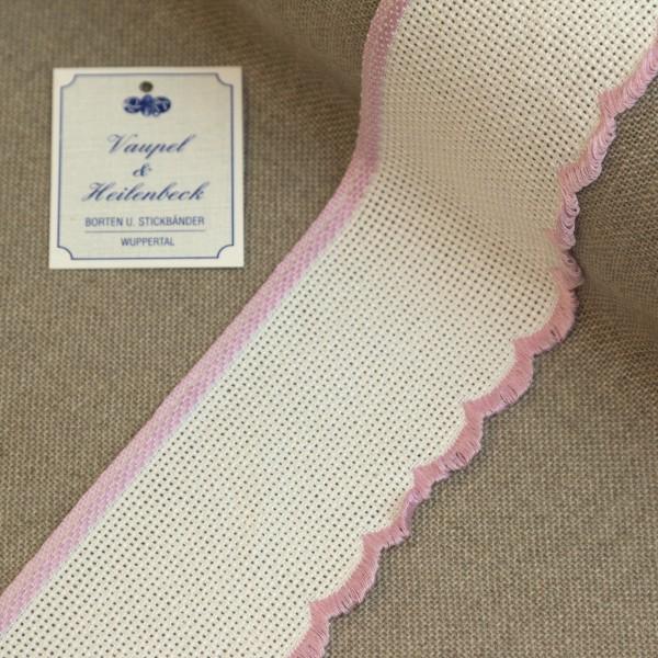 Aida-Stickband 100% BW, 55 mm, Farbe 12, weiß - rosa