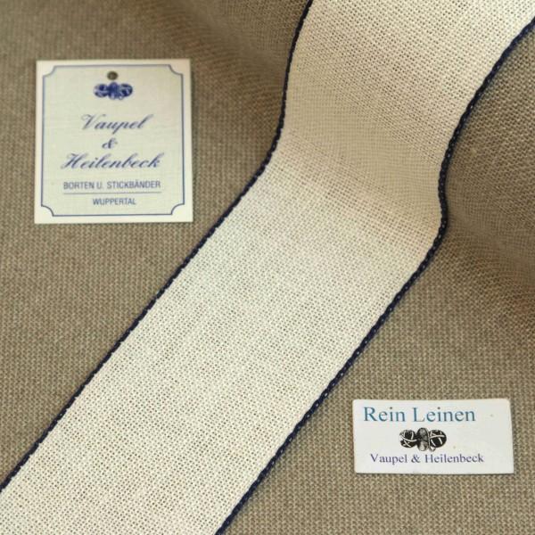 Leinenband 50 mm, 11-fädig, Farbe 13, gebleicht - Rand dunkelblau