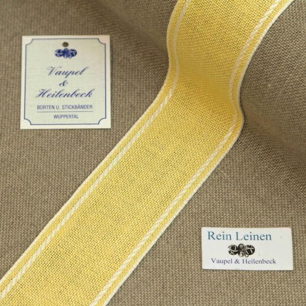 Leinenband 40 mm, 11-fädig, Rand gestreift, Farbe 1, gelb - weiß