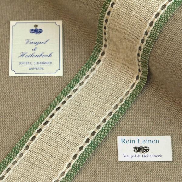 Leinenband mit Lochrand, 11-fädig, 50 mm, Farbe 23, meliert - grün