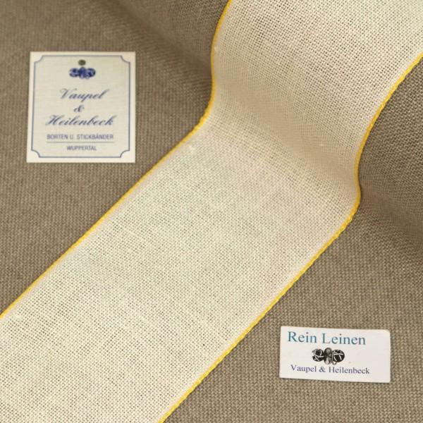 Leinenband 70 mm, 11-fädig, Farbe 4, gebleicht - Rand gelb