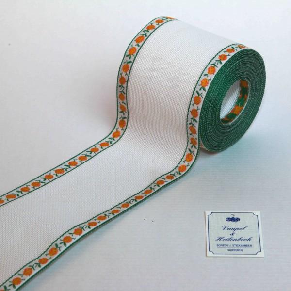 Aida-Stickband 100% BW, 80 mm, Farbe 4, weiß - Orange orange