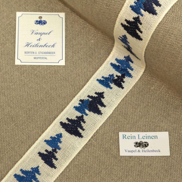 Leinenband 30 mm, 11-fädig, Motiv Tanne, Farbe 19, gebleicht - blau