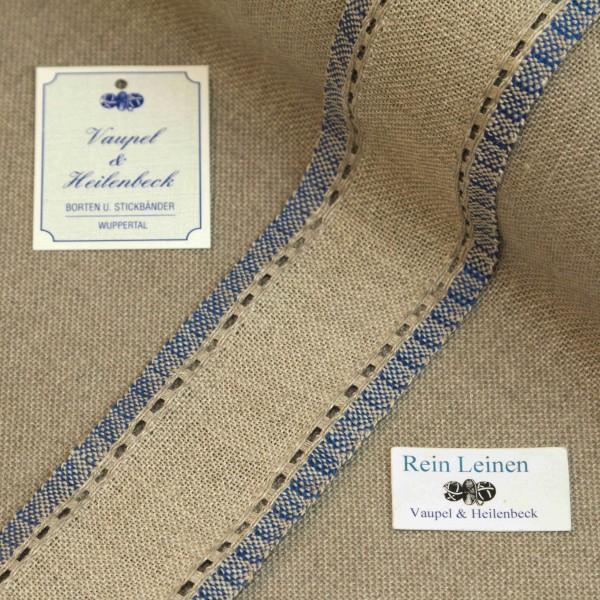 Leinenband mit Lochrand, 11-fädig, 50 mm, Farbe 19, natur - blau