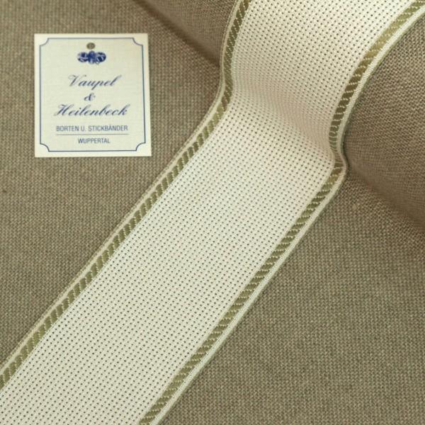 Aida-Stickband 100% BW, 50 mm, Farbe 21, weiß - khaki