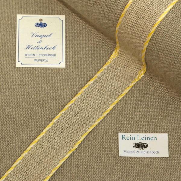 Leinenband 30 mm, 11-fädig, Farbe 430, natur - Kordelrand BW gelb - weiß