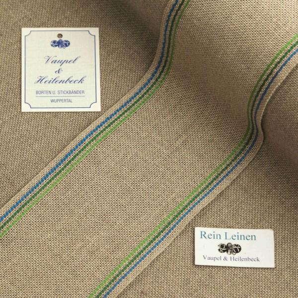 Leinenband 70 mm, 11-fädig, Rand gestreift, Farbe 119, natur - 3 farbig