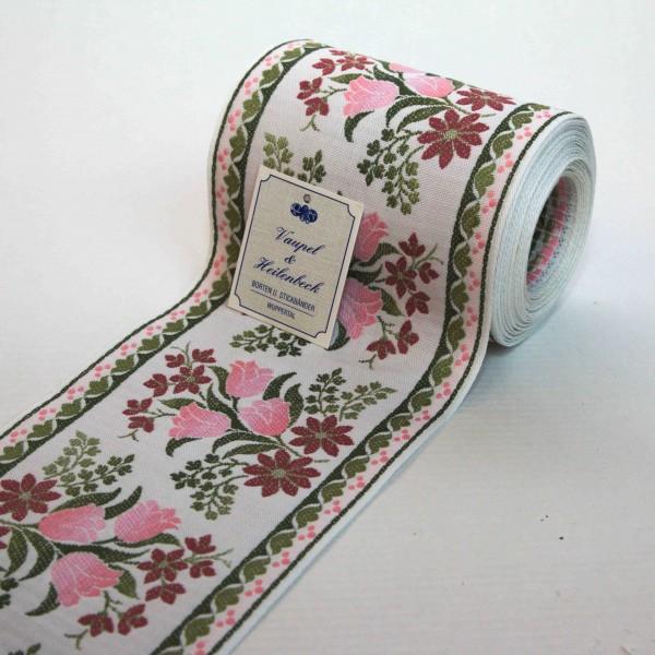 Schmuckborte (Tischband) 105 mm, Farbe 028, weiß - rose
