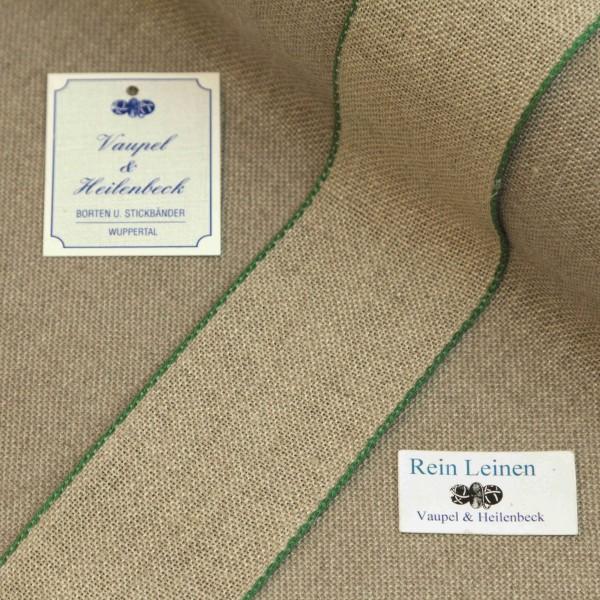 Leinenband 50 mm, 11-fädig, Farbe 23, natur - Rand grün