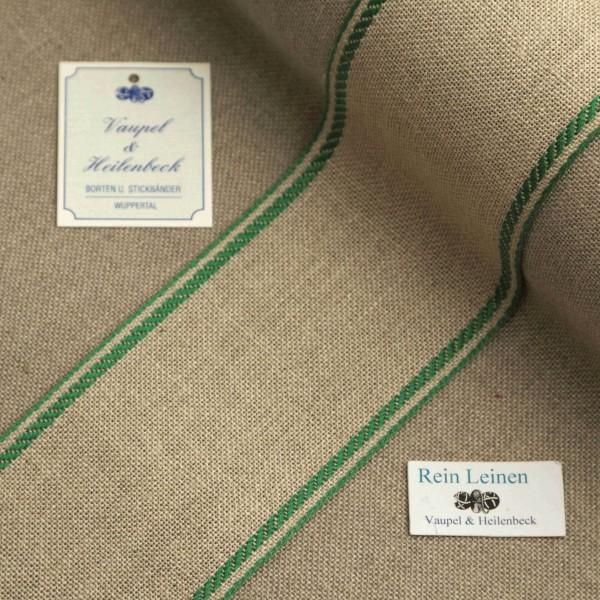 Leinenband 70 mm, 11-fädig, Rand gestreift, Farbe 23, natur - grün