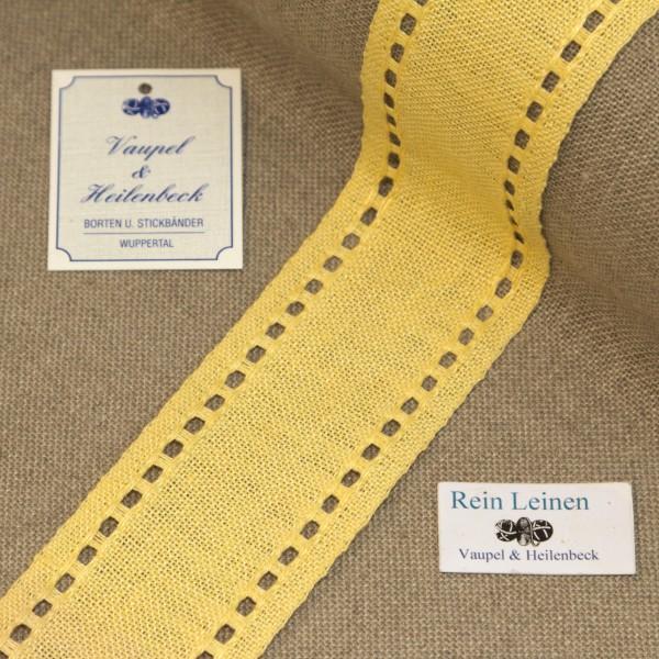 Leinenband mit Lochrand, 11-fädig, 50 mm, Farbe 210, gelb - gelb