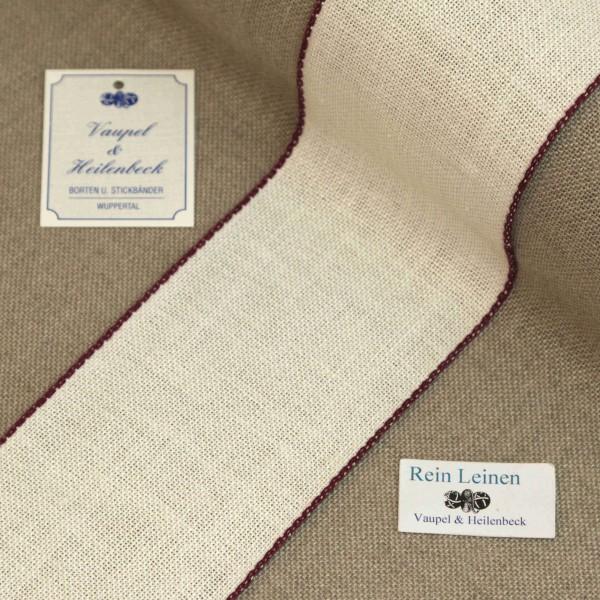Leinenband 70 mm, 11-fädig, Farbe 216, gebleicht - Rand maulbeere