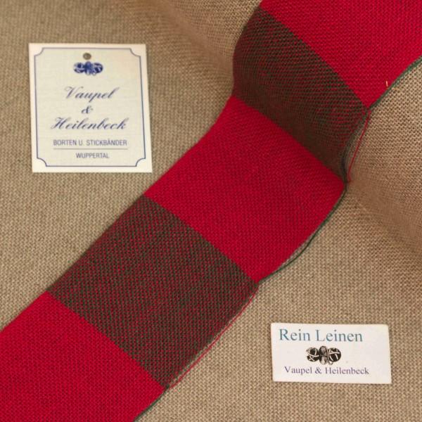 Leinenband 50 mm, 11-fädig, kariert, Farbe 208209, rot - grün meliert