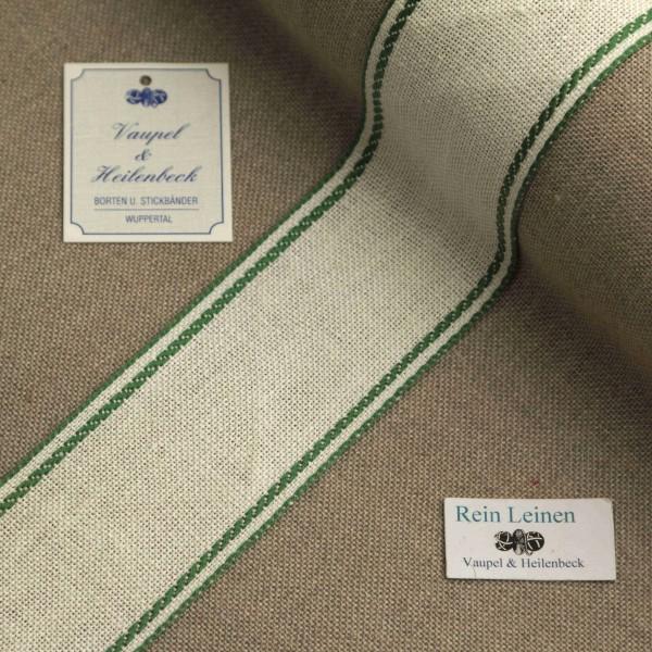 Leinenband 50 mm, 11-fädig, Rand gestreift, Farbe 23, gebleicht - grün