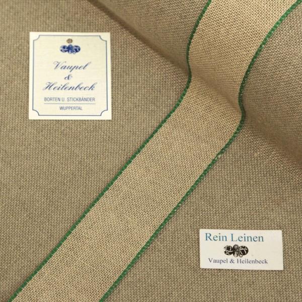 Leinenband 30 mm, 11-fädig, Farbe 23, natur - Rand grün