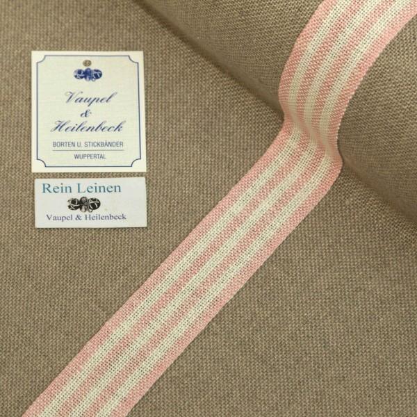Leinenband 30 mm, 11-fädig, gestreift, Farbe 211, gebleicht - rose