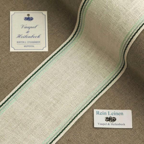 Leinenband 70 mm, 11-fädig, Rand gestreift, Farbe 124, gebleicht - 3 farbig