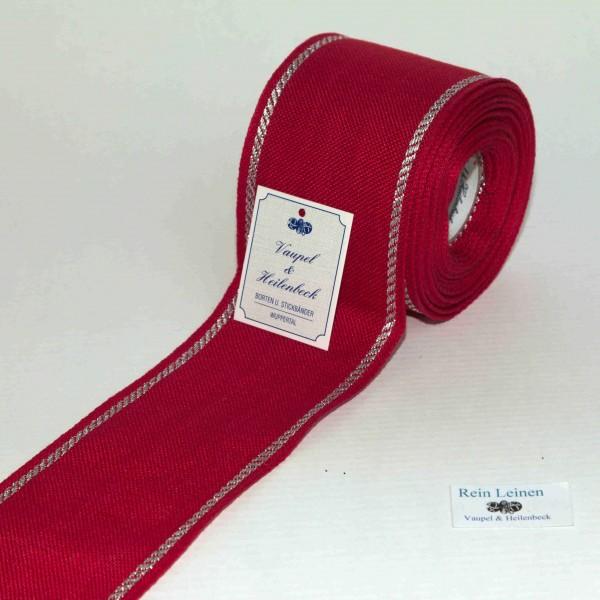 Leinenband 70 mm, 11-fädig, Rand gestreift, Farbe 95, rot - silber