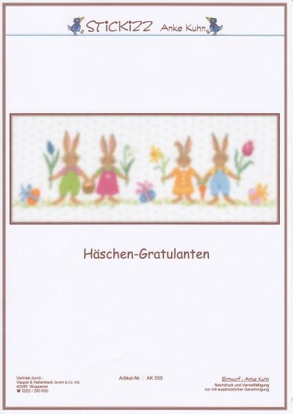 """Stickizz Kreuzstich No. AK555 """"H""""äschen-Gratulanten"""""""